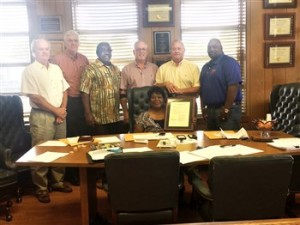 SUPERVISORS HONOR RETIRING KING – The Copiah County Board of Supervisors presented a resolution to Barbara King, recently, recognizing her work for the county. She has worked for the county since 2001 when she began as a deputy Chancery Clerk. She retired recently as lead 911 dispatcher.